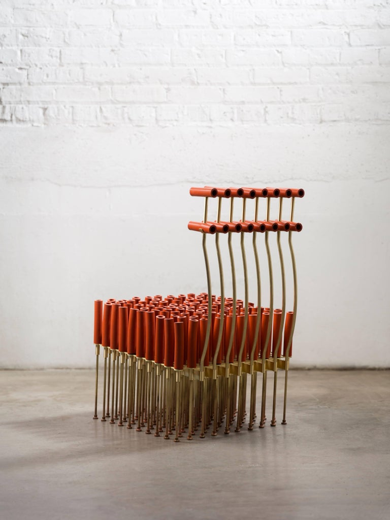 Modern Chair with Tubes and Brass For Sale