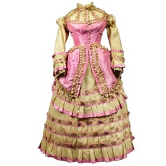 A Challis and Taffeta Bustle Cage Fashion Dress - France circa 1880