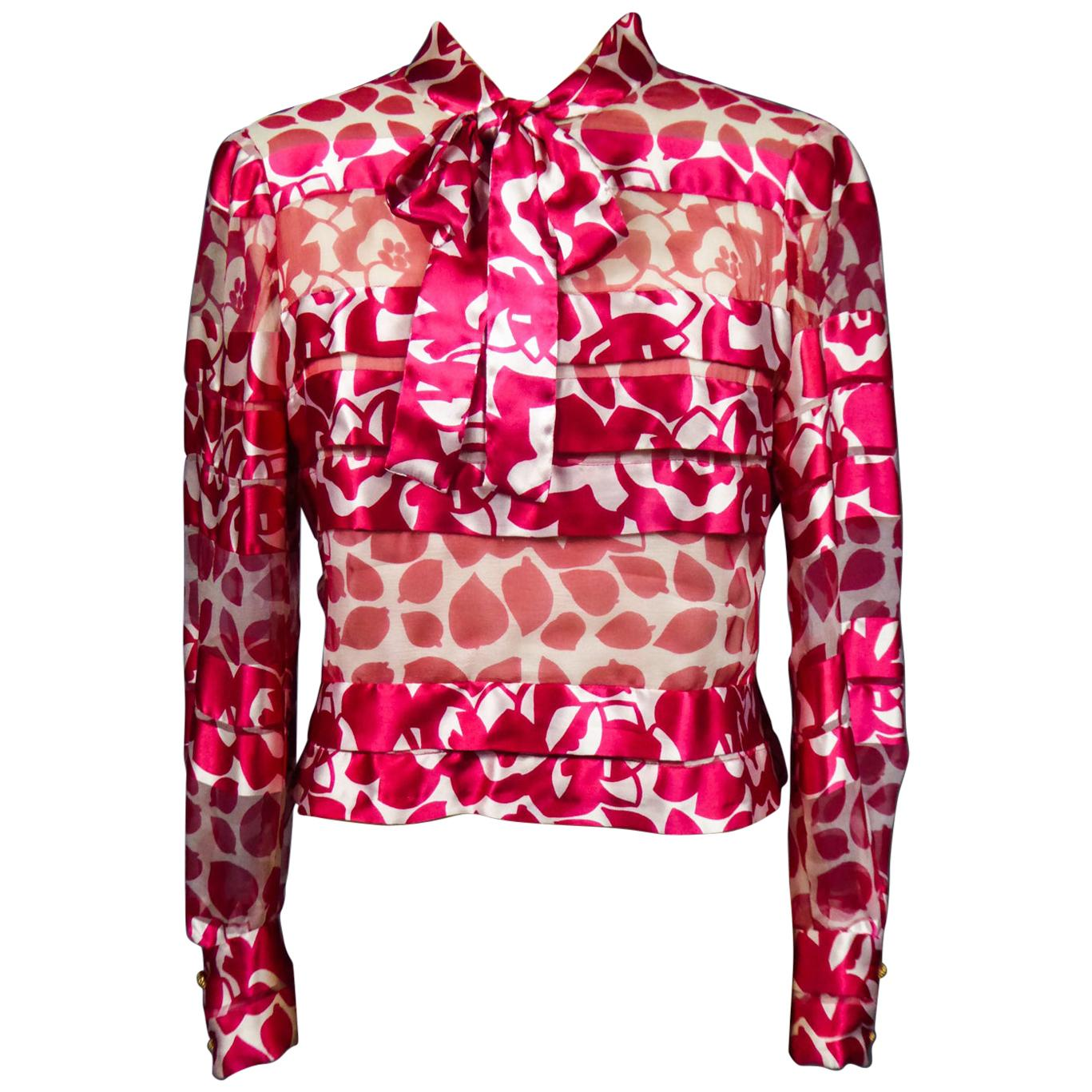 A Chanel Blouse in Printed Silk Numbered 46641 Circa 1970