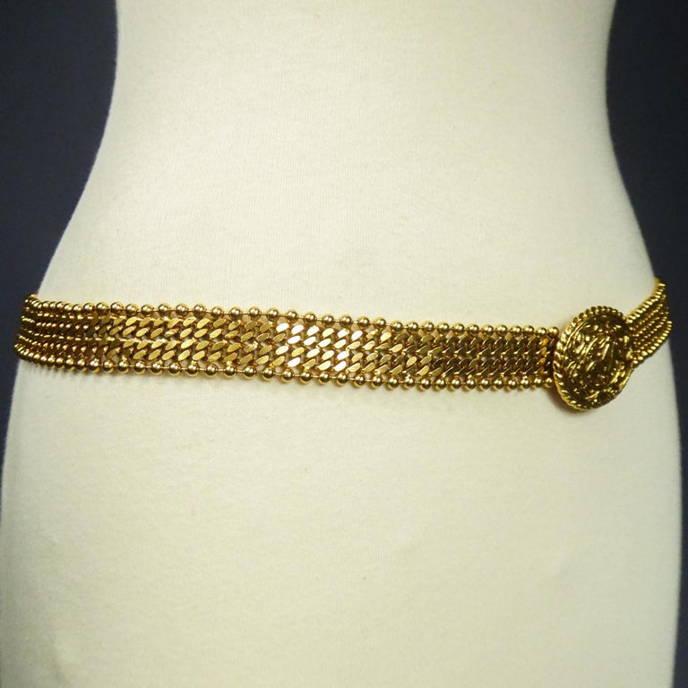 A Chanel Evening Belt in Golden Metal Circa 1970/1980 For Sale 2
