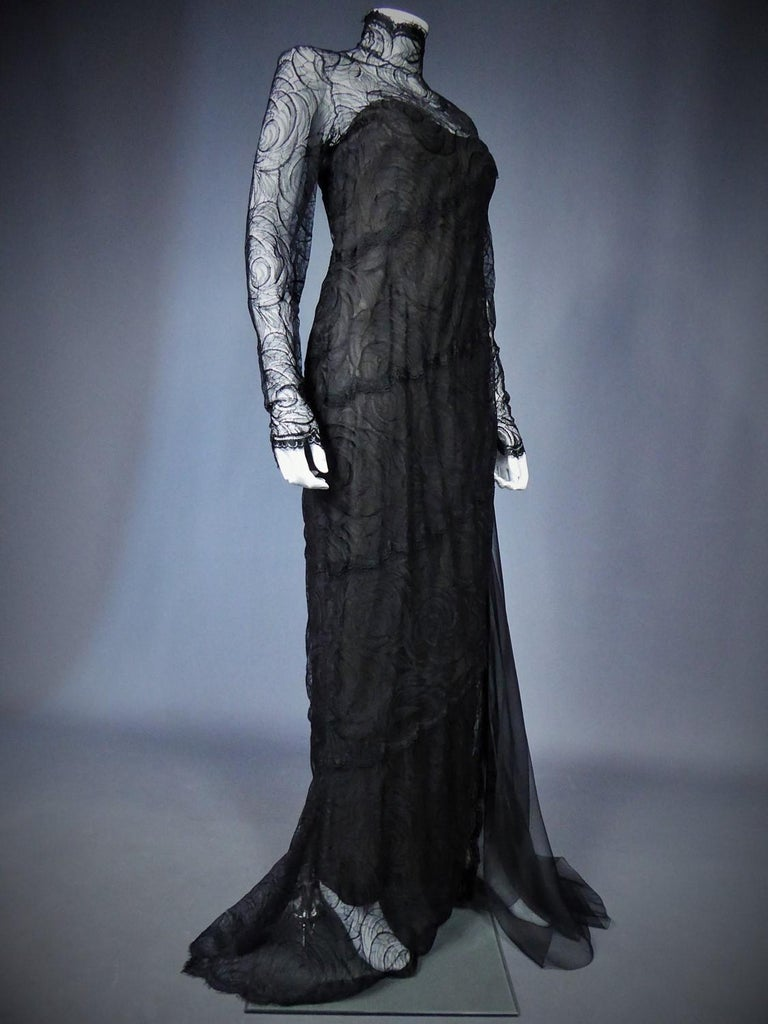 A Chanel Haute Couture Evening Dress by Karl Lagerfeld in Calais Lace Circa 1997 For Sale 5
