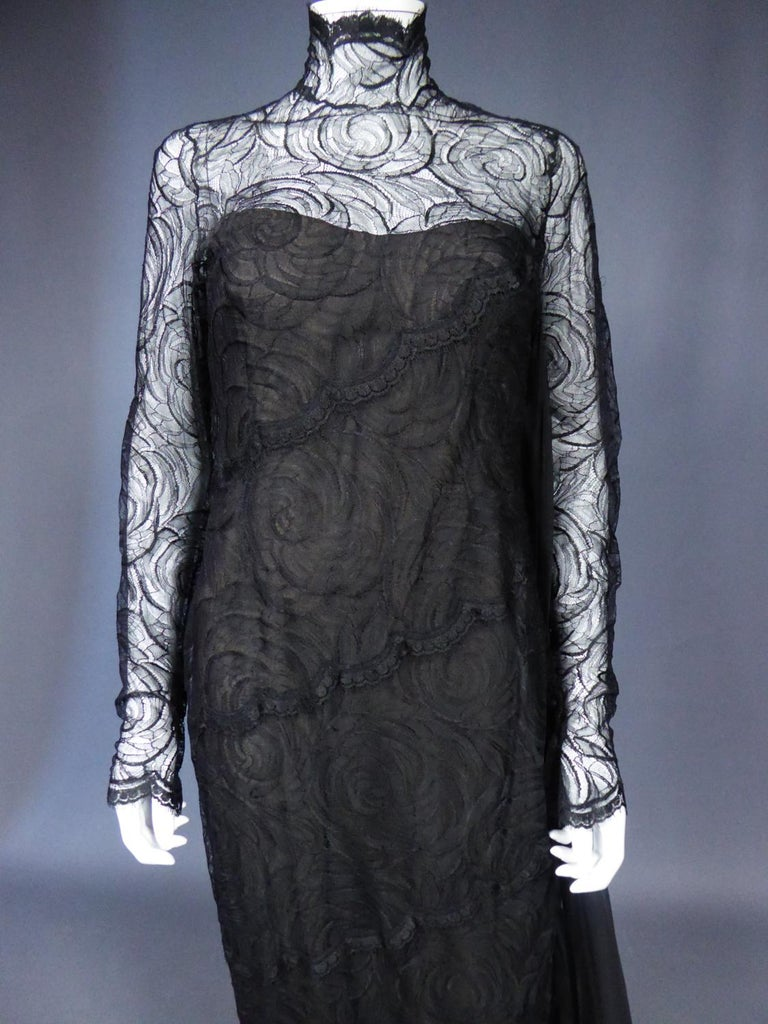 A Chanel Haute Couture Evening Dress by Karl Lagerfeld in Calais Lace Circa 1997 For Sale 2