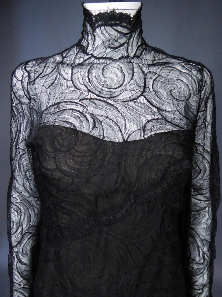 A Chanel Haute Couture Evening Dress by Karl Lagerfeld in Calais Lace Circa 1997 For Sale 3