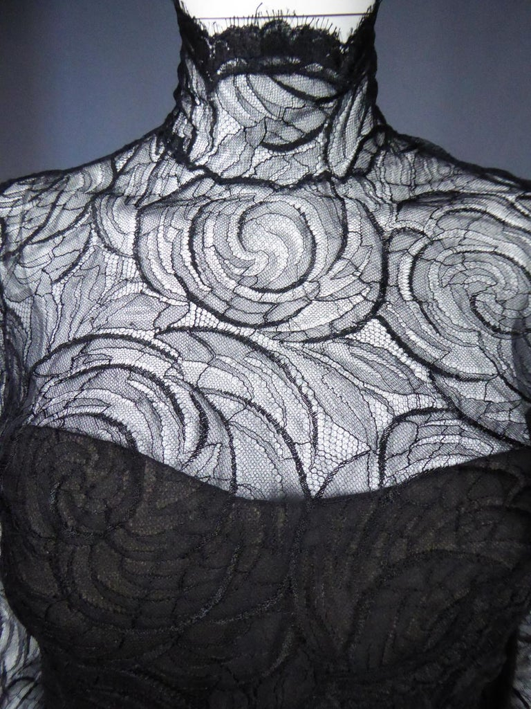 A Chanel Haute Couture Evening Dress by Karl Lagerfeld in Calais Lace Circa 1997 For Sale 4