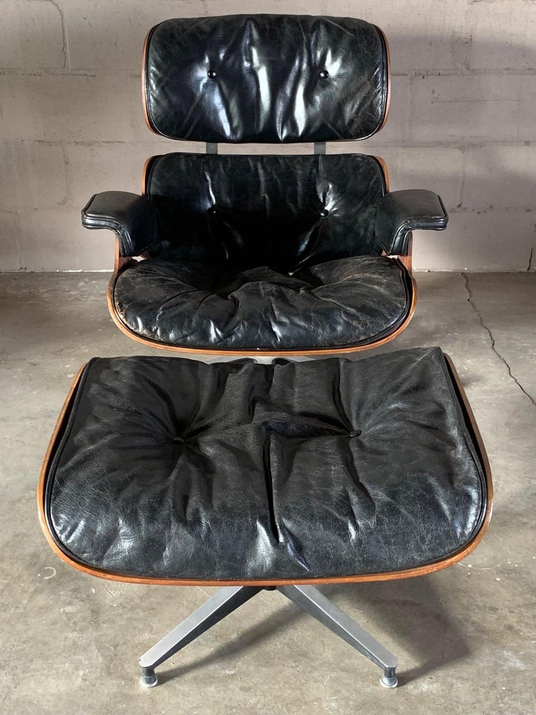 American Charles Eames Herman Miller Lounge Chair and Ottoman 1956 For Sale
