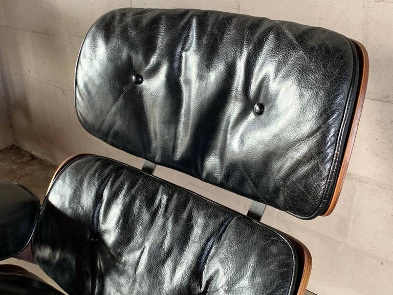 Mid-20th Century Charles Eames Herman Miller Lounge Chair and Ottoman 1956 For Sale