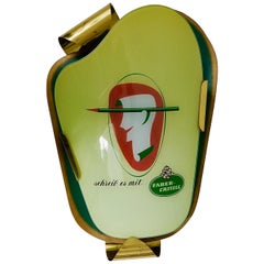 Charming 1950s Faber-Castell Green Brass Wall Lamp Advertising Sign Sconce