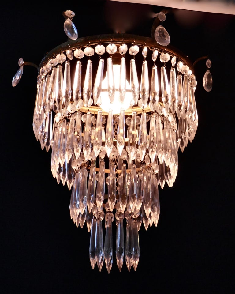 Crystal Charming Art Deco 4-Tier Waterfall Pendant Chandelier For Sale