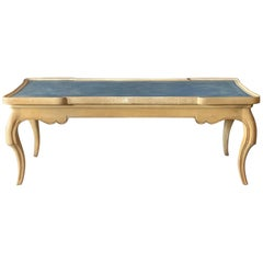 Charming French Provincial Coffee Table with Blue Leather Top