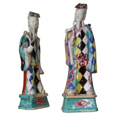 Charming Near Pair of 18th Century Chinese Export Immortals, Harlequin