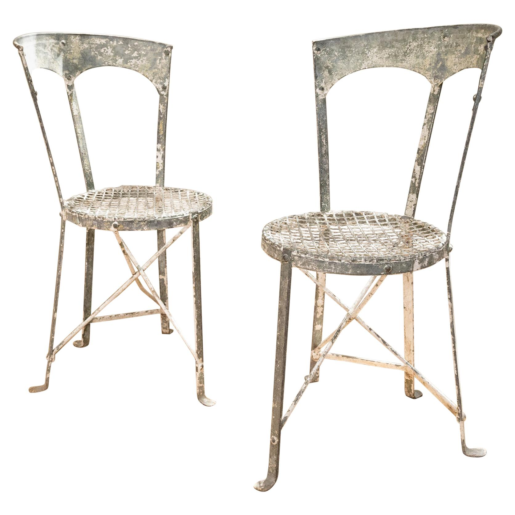 Charming Pair of Small French Metal Garden Chairs