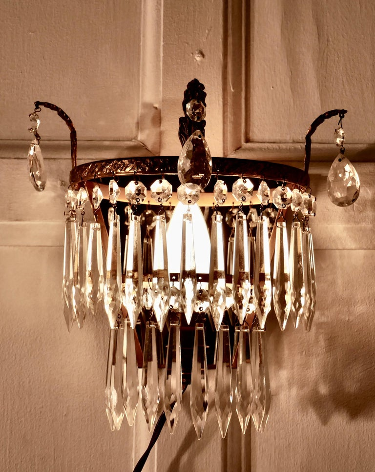 Art Deco Charming Pair of Waterfall Chandelier Wall Lights