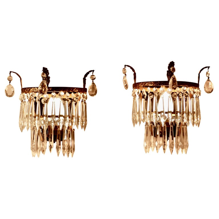 Charming Pair of Waterfall Chandelier Wall Lights