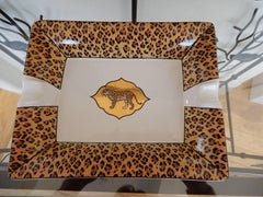 A Chase Hand Painted Leopard with 24 Karat Gold