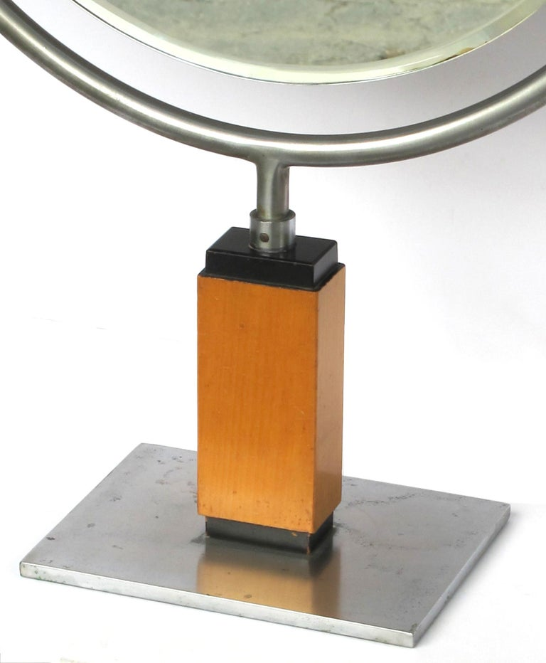 Mid-20th Century Chic American Art Deco 1930s Steel Dressing Mirror Raised on a Maplewood Base For Sale