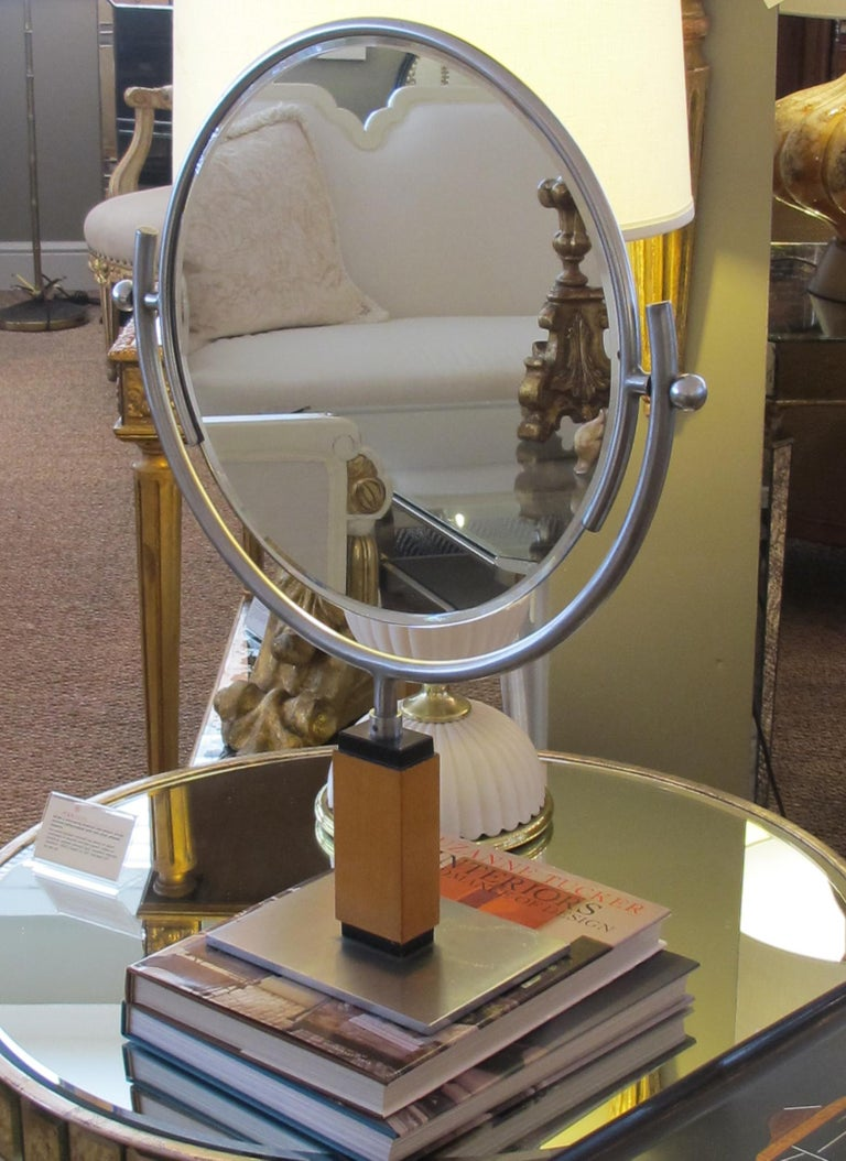Chic American Art Deco 1930s Steel Dressing Mirror Raised on a Maplewood Base For Sale 2