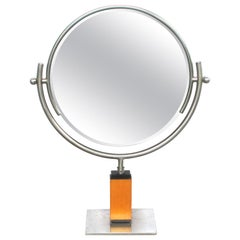 Chic American Art Deco 1930s Steel Dressing Mirror Raised on a Maplewood Base