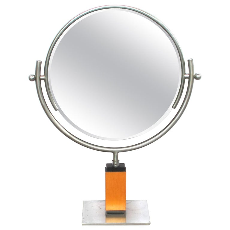 Chic American Art Deco 1930s Steel Dressing Mirror Raised on a Maplewood Base For Sale