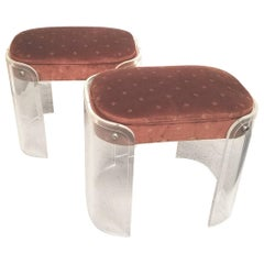 Chic Pair of Lucite Midcentury Stools or Benches