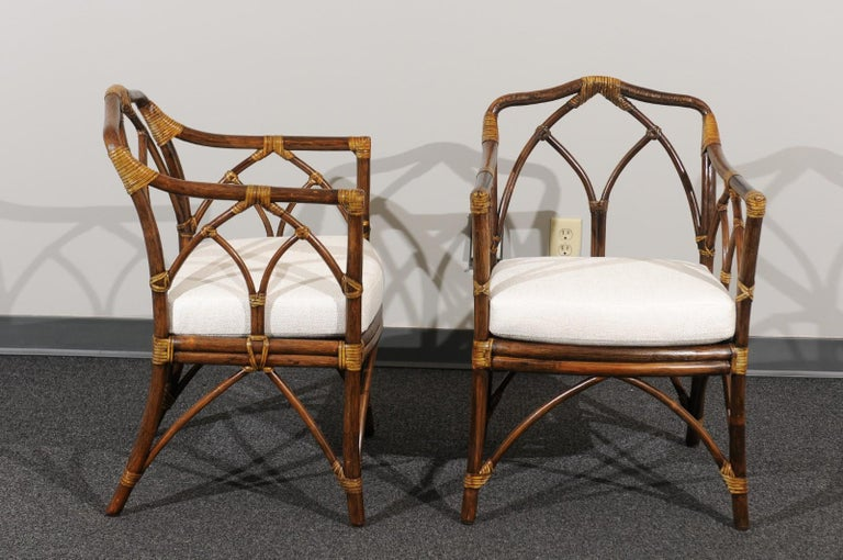Chic Restored Set of 8 Modern Arm Dining Chairs by McGuire, circa 1975 In Excellent Condition For Sale In Atlanta, GA