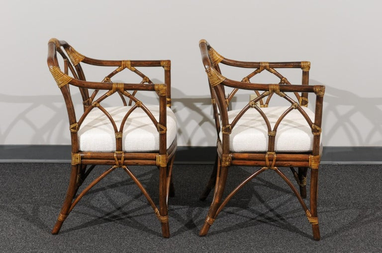 Late 20th Century Chic Restored Set of 8 Modern Arm Dining Chairs by McGuire, circa 1975 For Sale