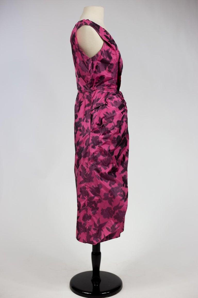 A Chiné Taffeta Silk cocktail Dress French Circa 1955/1960 For Sale 6