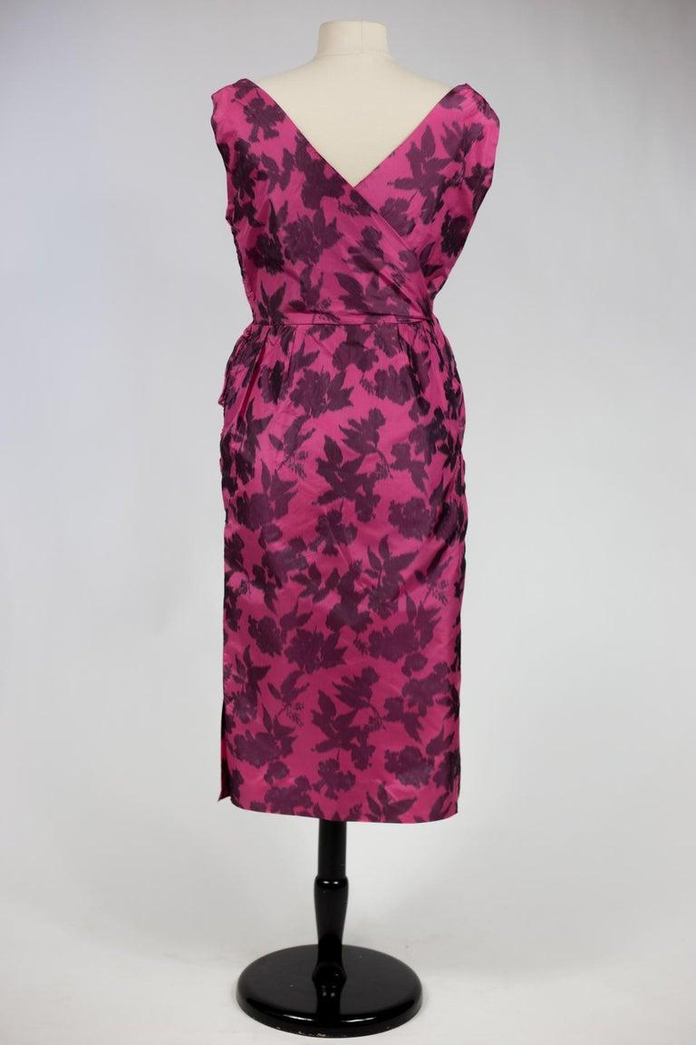 A Chiné Taffeta Silk cocktail Dress French Circa 1955/1960 For Sale 7