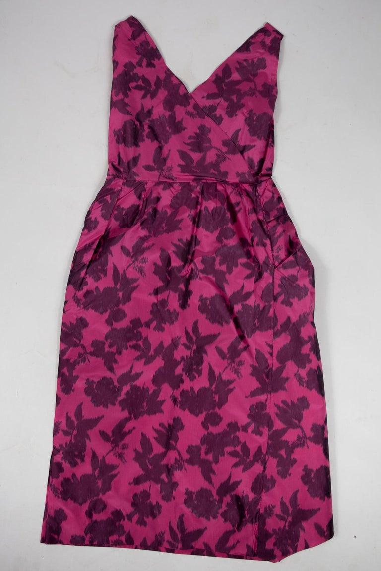 Women's A Chiné Taffeta Silk cocktail Dress French Circa 1955/1960 For Sale