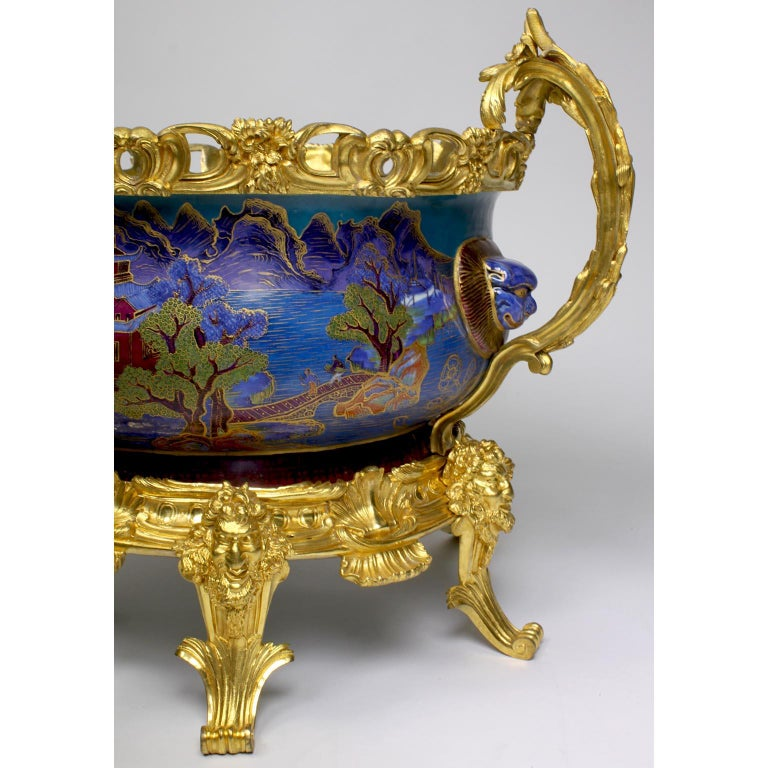 Chinese Export Famille Verte Porcelain & French Ormolu Chinoiserie Centerpiece For Sale 5