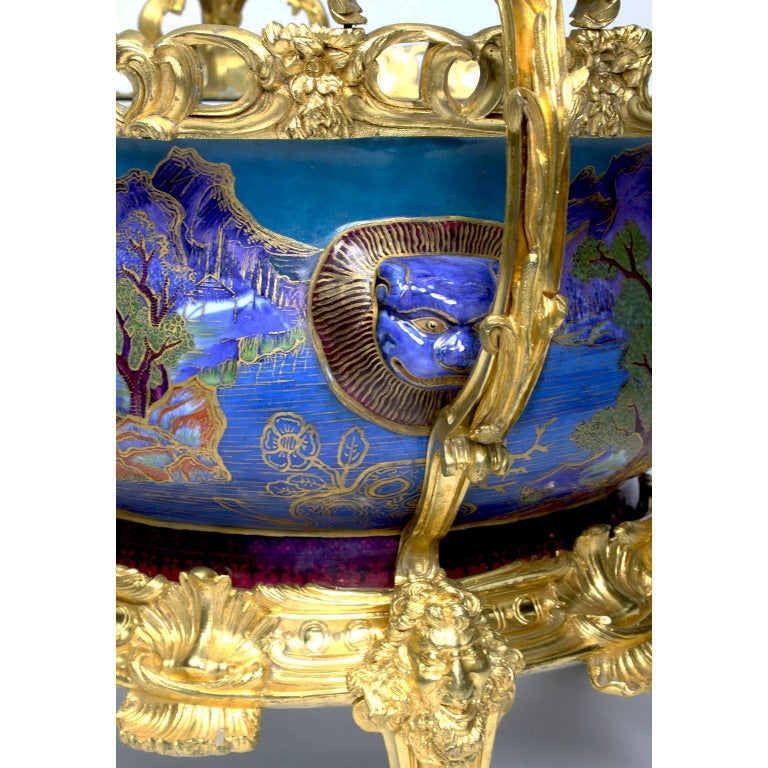 Chinese Export Famille Verte Porcelain & French Ormolu Chinoiserie Centerpiece For Sale 8