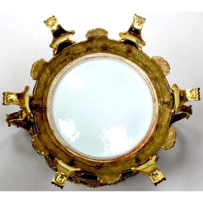 Chinese Export Famille Verte Porcelain & French Ormolu Chinoiserie Centerpiece For Sale 13
