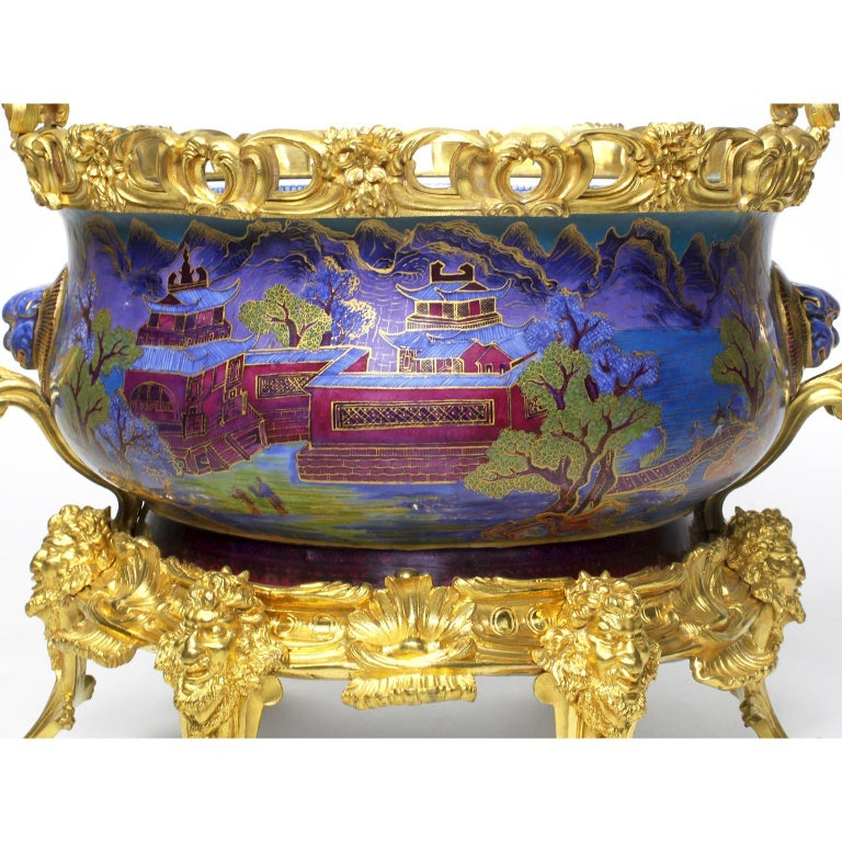 Chinese Export Famille Verte Porcelain & French Ormolu Chinoiserie Centerpiece For Sale 2