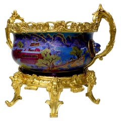 Chinese Export Famille Verte Porcelain & French Ormolu Chinoiserie Centerpiece