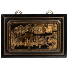 Chinese Export Gilt-Decorated Black Lacquer Panel