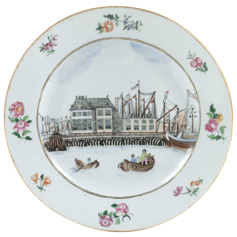 Chinese Export Porcelain 'Amsterdam Waterfront' Dish, circa 1765, Qianlong