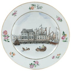 Chinese Export Porcelain 'Amsterdam Waterfront' Dish, circa 1765, Qianlong