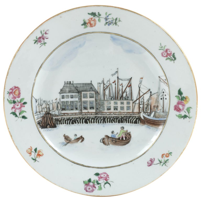 Chinese Export Porcelain 'Amsterdam Waterfront' Dish, circa 1765, Qianlong For Sale