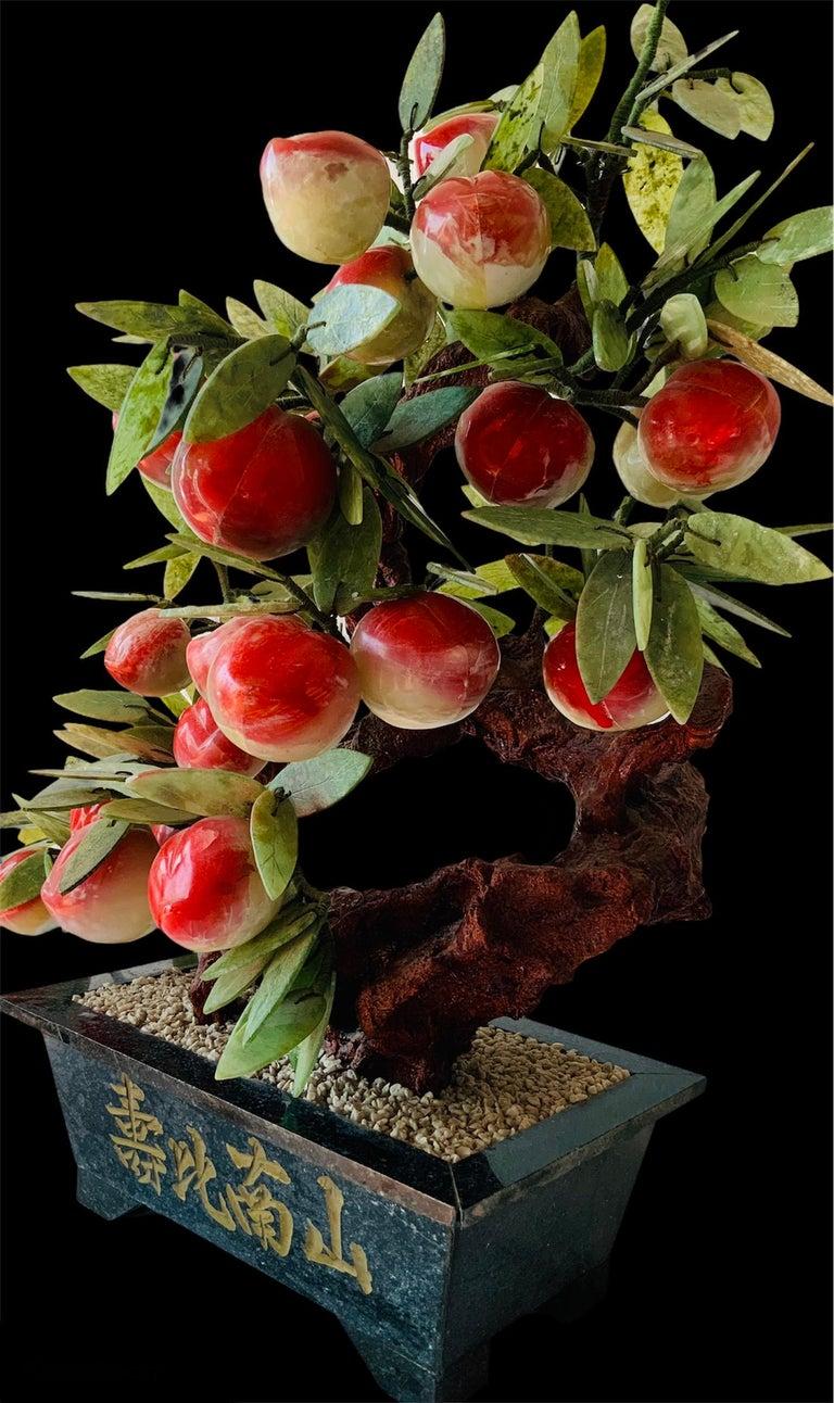 Chinoiserie Chinese Jade Peach Tree Bonsai Table Decor For Sale