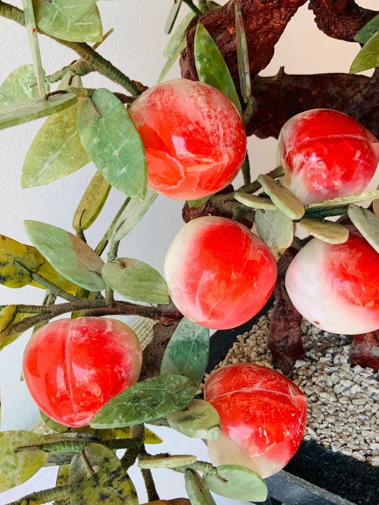 20th Century Chinese Jade Peach Tree Bonsai Table Decor For Sale