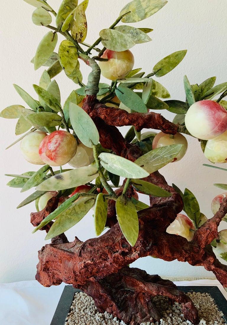 Chinese Jade Peach Tree Bonsai Table Decor For Sale 1