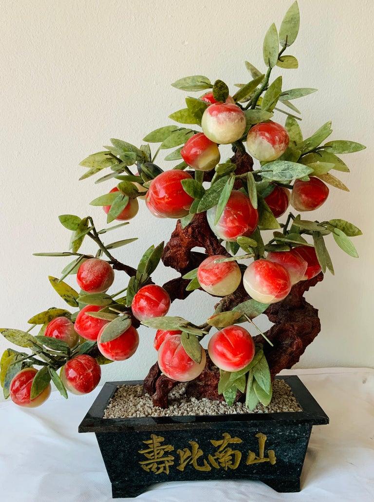 Chinese Jade Peach Tree Bonsai Table Decor For Sale 2