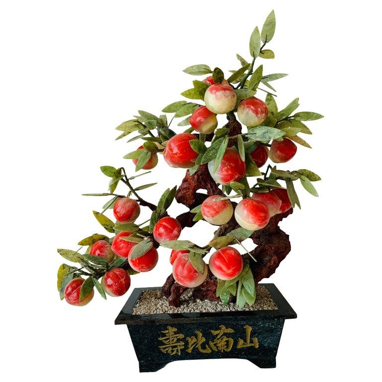 Chinese Jade Peach Tree Bonsai Table Decor For Sale