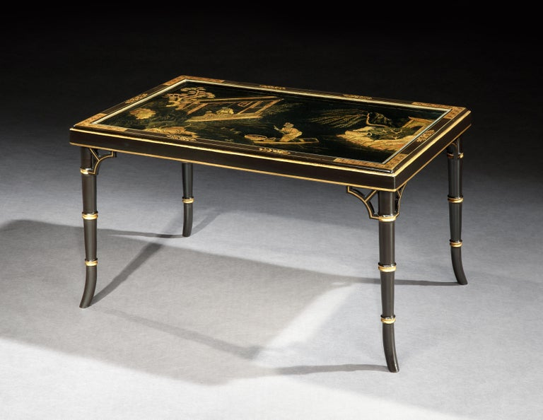 Chinoiserie Chinese Lacquer Low Table with Stylised Bamboo Legs For Sale