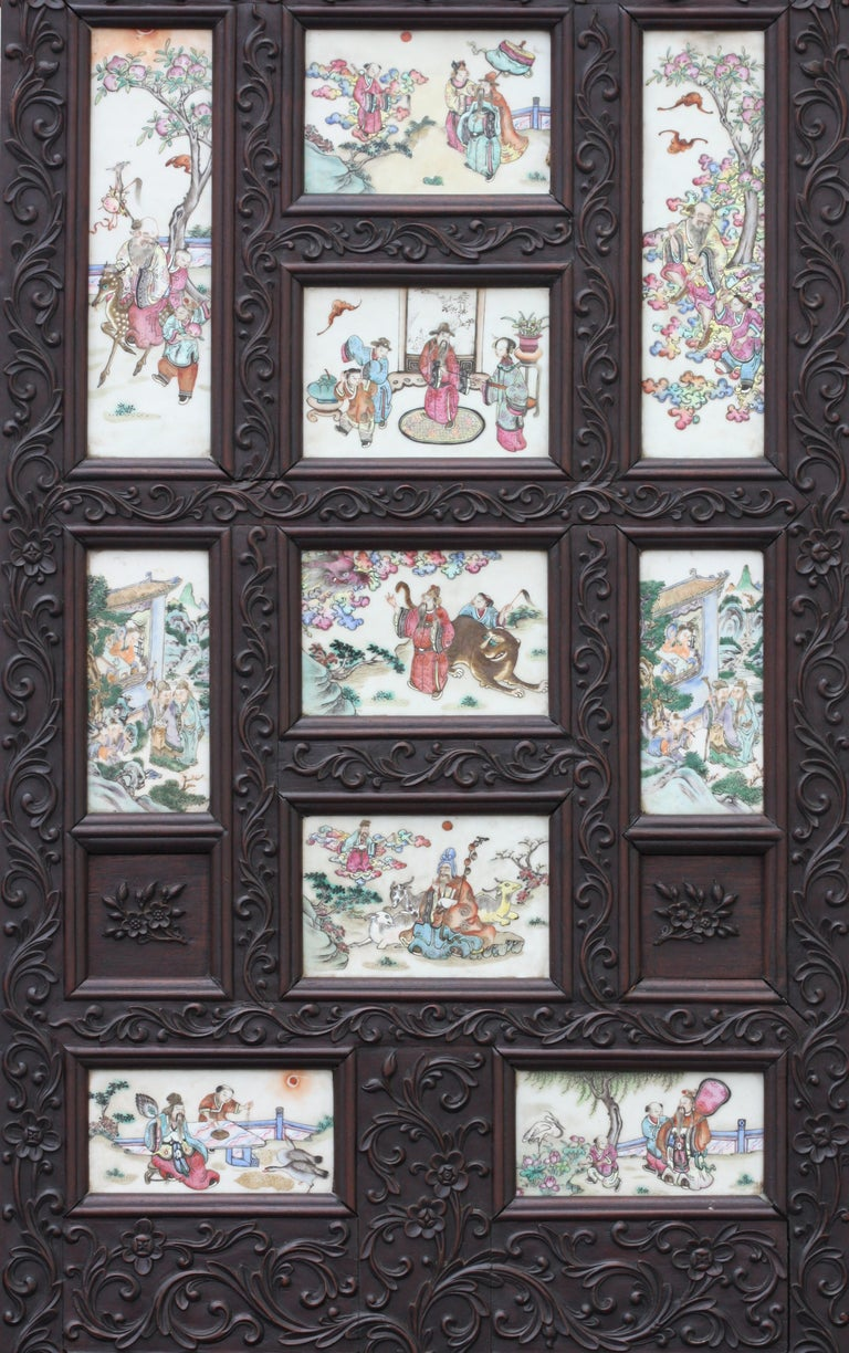 Chinese Three-Panel Porcelain Inlaid and Mixed Wood Screen For Sale 6
