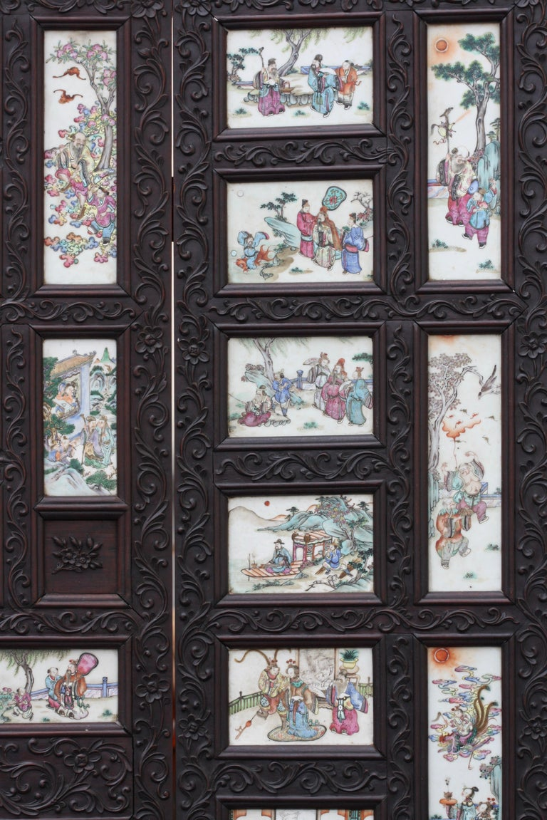 Chinese Three-Panel Porcelain Inlaid and Mixed Wood Screen For Sale 8