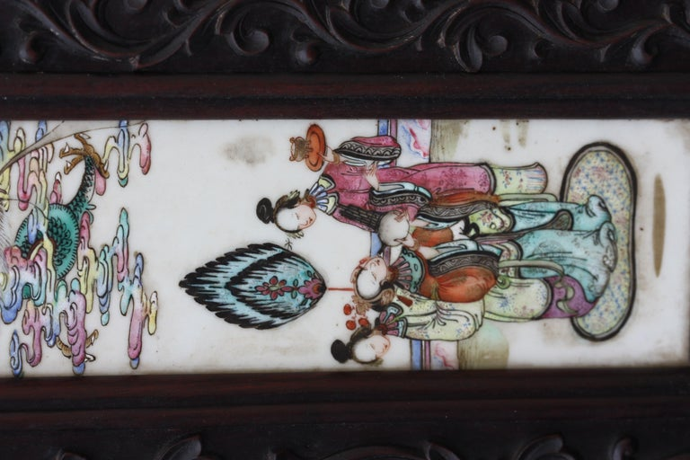 19th Century Chinese Three-Panel Porcelain Inlaid and Mixed Wood Screen For Sale