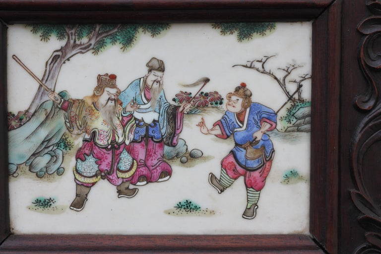 Chinese Three-Panel Porcelain Inlaid and Mixed Wood Screen For Sale 1
