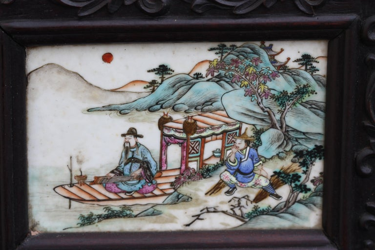 Chinese Three-Panel Porcelain Inlaid and Mixed Wood Screen For Sale 2