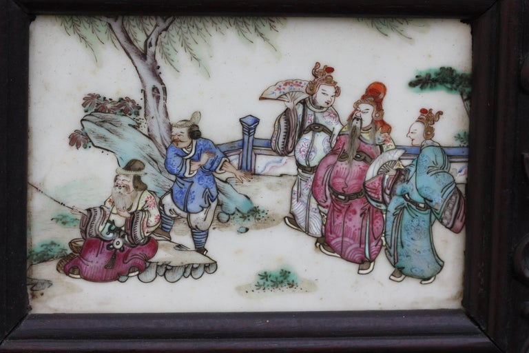 Chinese Three-Panel Porcelain Inlaid and Mixed Wood Screen For Sale 3