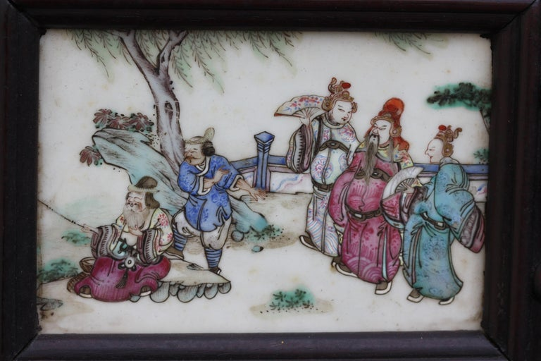 Chinese Three-Panel Porcelain Inlaid and Mixed Wood Screen For Sale 5